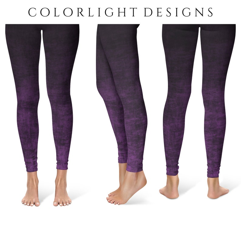 Purple Ombre Leggings Yoga Pants Grunge Yoga Tights for Women image 0