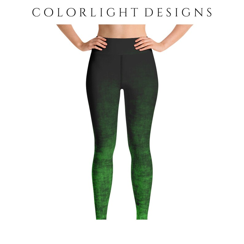 High Waist Green Ombre Leggings Yoga Pants Grunge Yoga Tights image 0