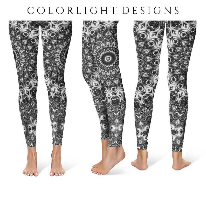 Black Leggings Yoga Pants Mandala Printed Yoga Tights for image 0