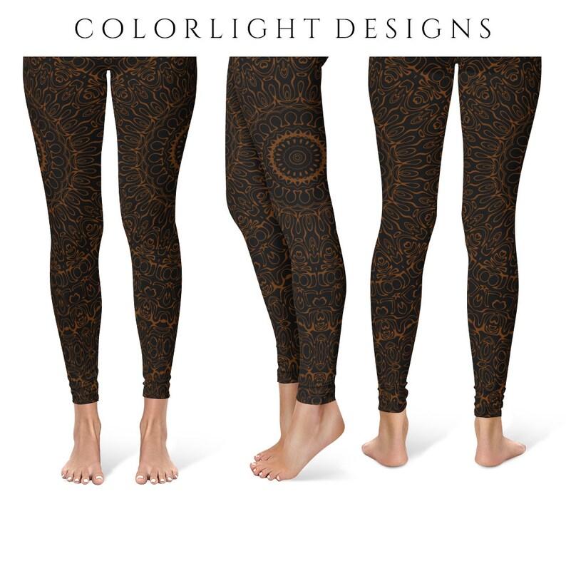 Chocolate Brown Yoga Pants Black Leggings with Brown Mandala image 0