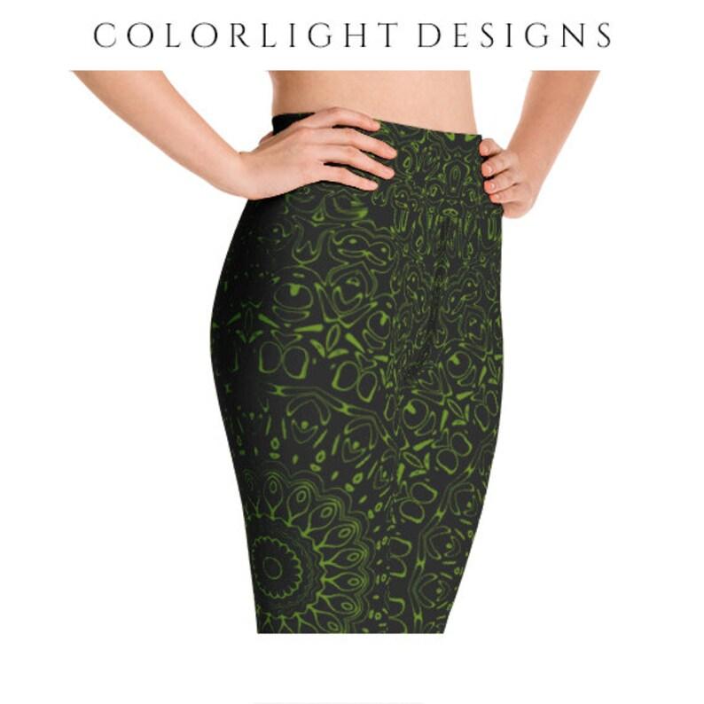 64226898aaaeb High Waist Avocado Yoga Pants Black Leggings with Green | Etsy