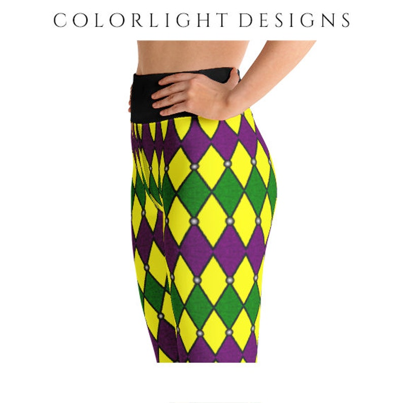 High Waist Mardi Gras Leggings Yoga Pants Jester Yoga Tights image 0