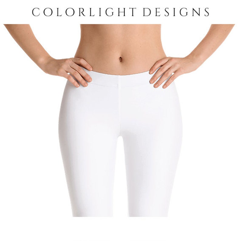 White Leggings Yoga Pants Solid Color Yoga Tights for Women image 0