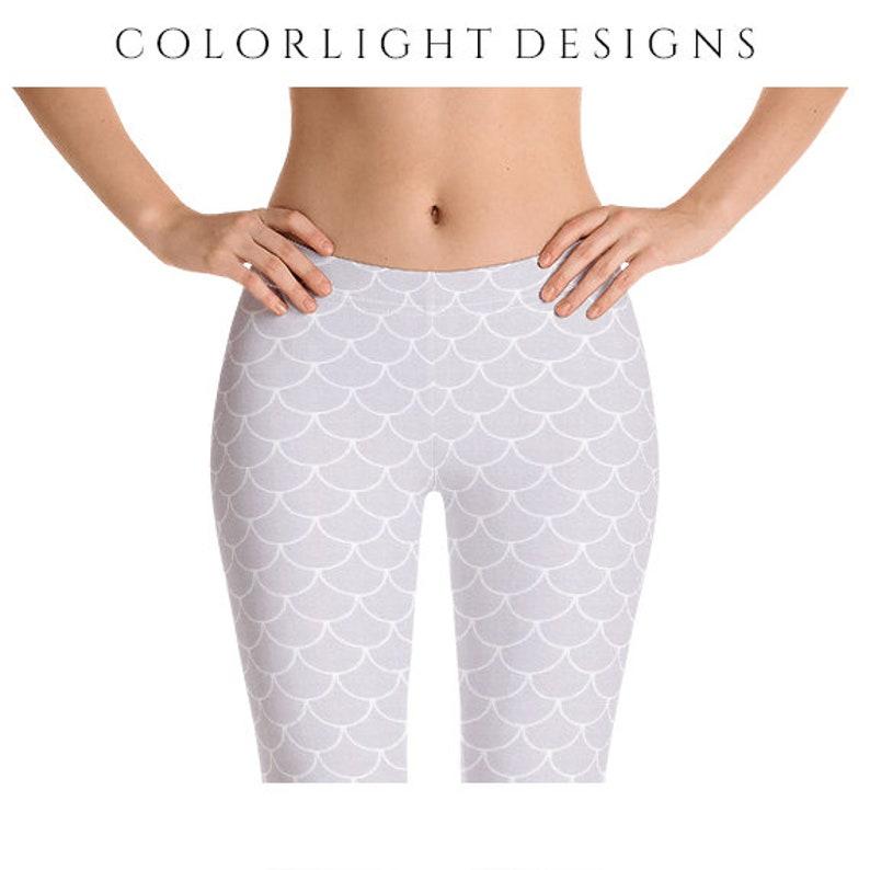 White Mermaid Leggings White Yoga Pants Dragon Scales image 0