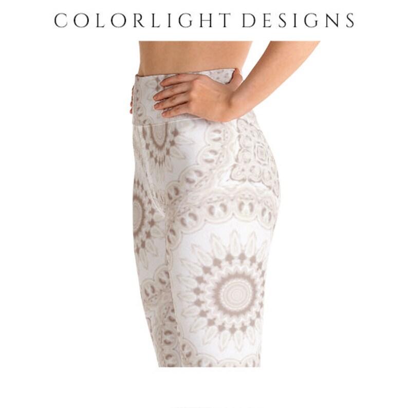 High Waist Boho Leggings Yoga Pants White Mandala Printed image 0
