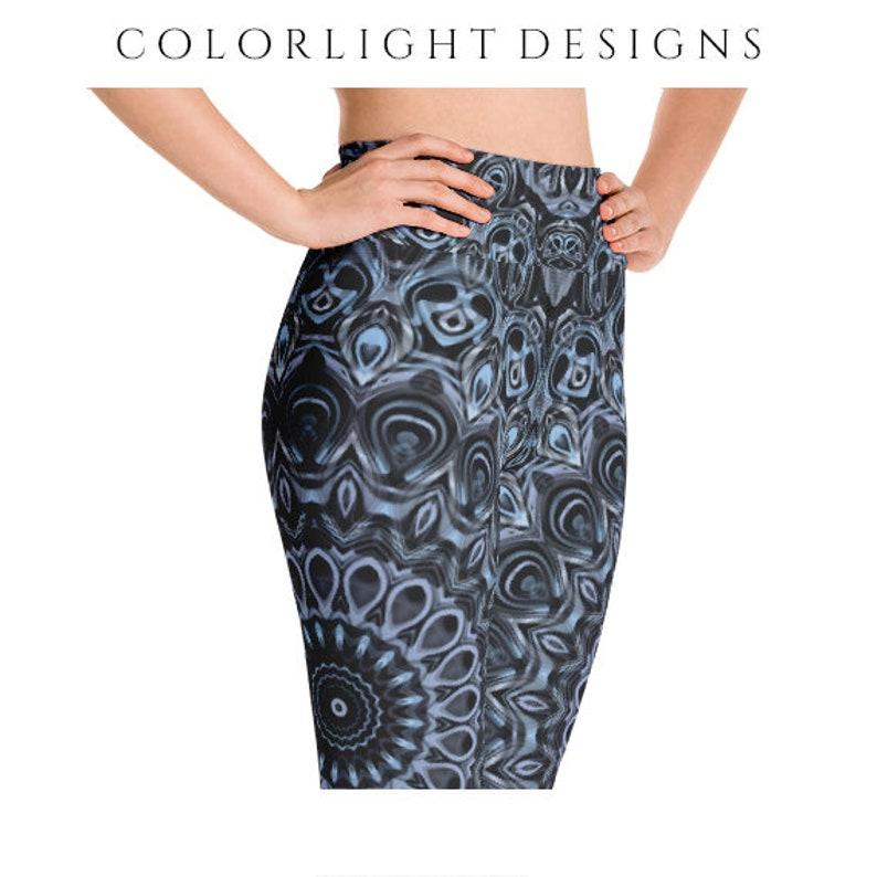 High Waist Mandala Yoga Pants Dark Blue Leggings Patterned image 0