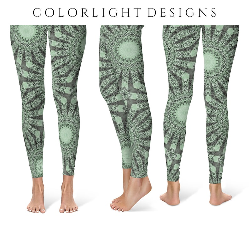 READY TO SHIP Forest Green Leggings in Size Medium Printed image 0