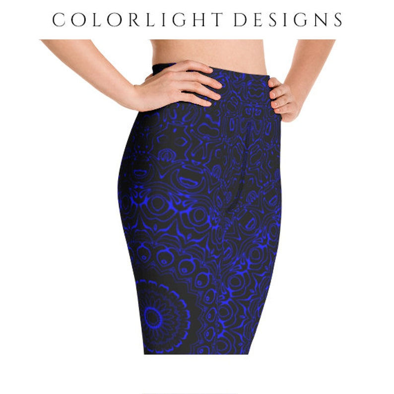 High Waist Yoga Pants Black Leggings with Blue Mandala image 0