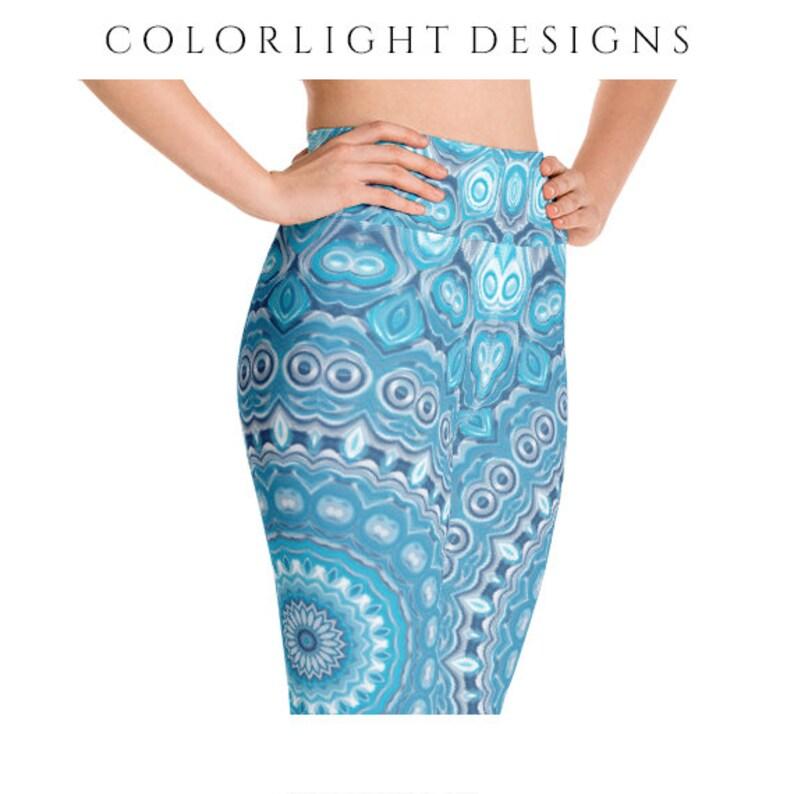 High Waist Printed Leggings Yoga Pants Blue Mandala Printed image 0