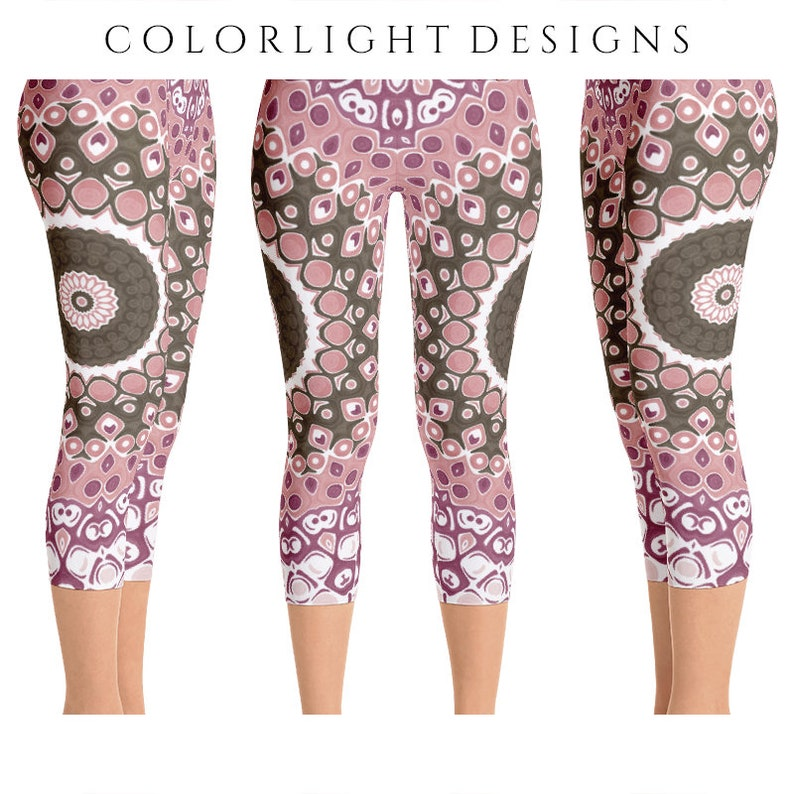READY TO SHIP Brown and Pink Leggings Size Large Mandala image 0