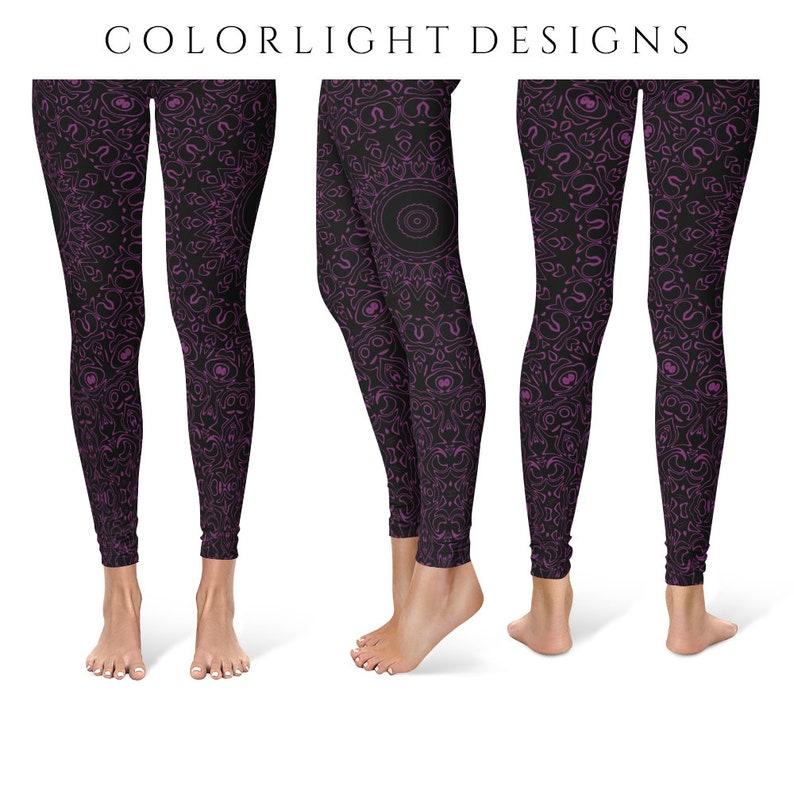Byzantium Yoga Pants Black Leggings with Purple Mandala image 0