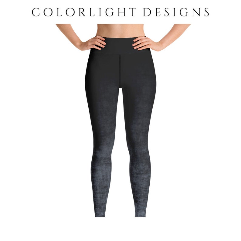 High Waist Gray Ombre Leggings Yoga Pants Grunge Yoga Tights image 0