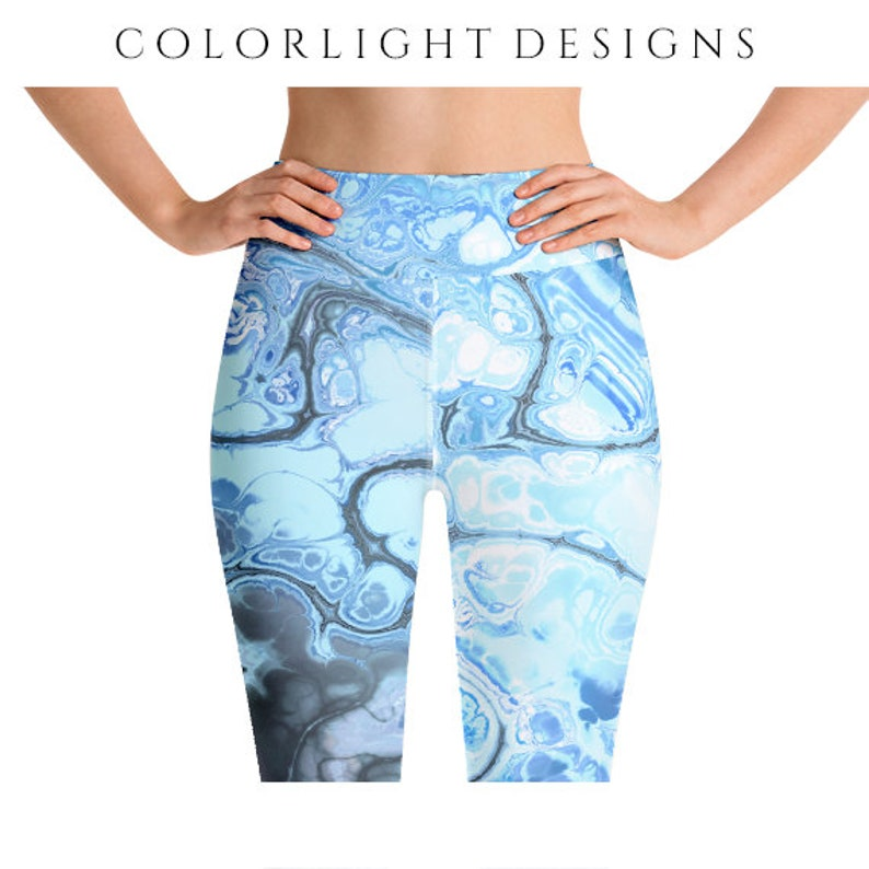 High Waist Blue Marble Leggings Fractal Style Yoga Pants image 0