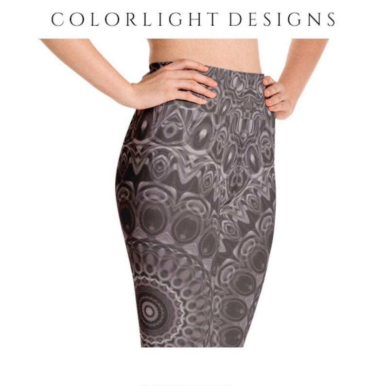 High Waist Brown Leggings Yoga Pants Mandala Printed Yoga image 0