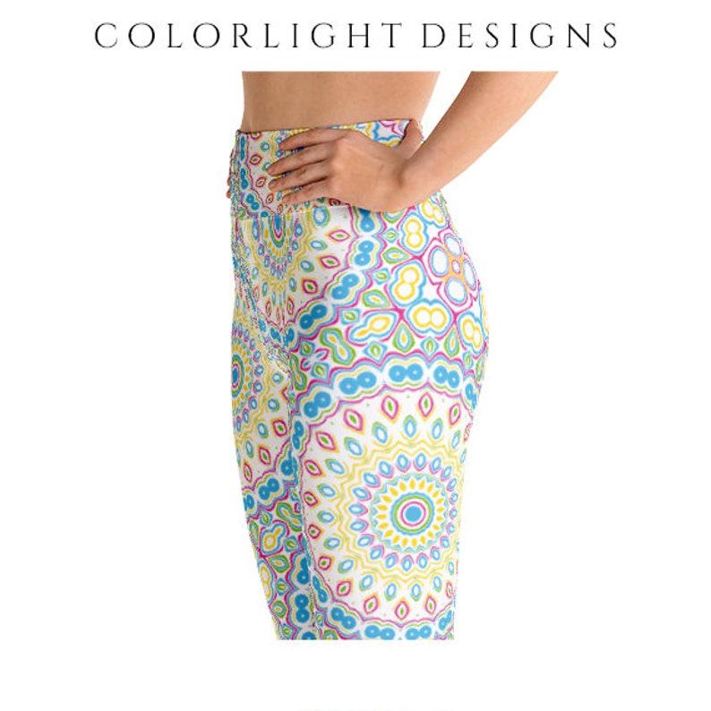 High Waist Multicolor Leggings Yoga Pants Colorful Pastel image 0