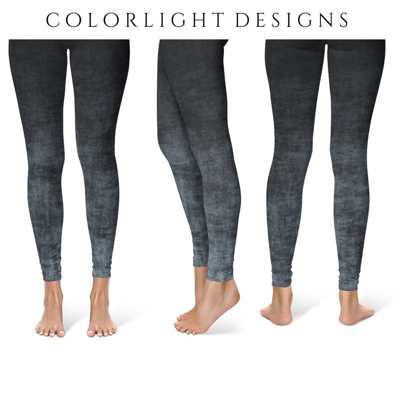 Gray Ombre Leggings Yoga Pants Grunge Yoga Tights for Women image 0