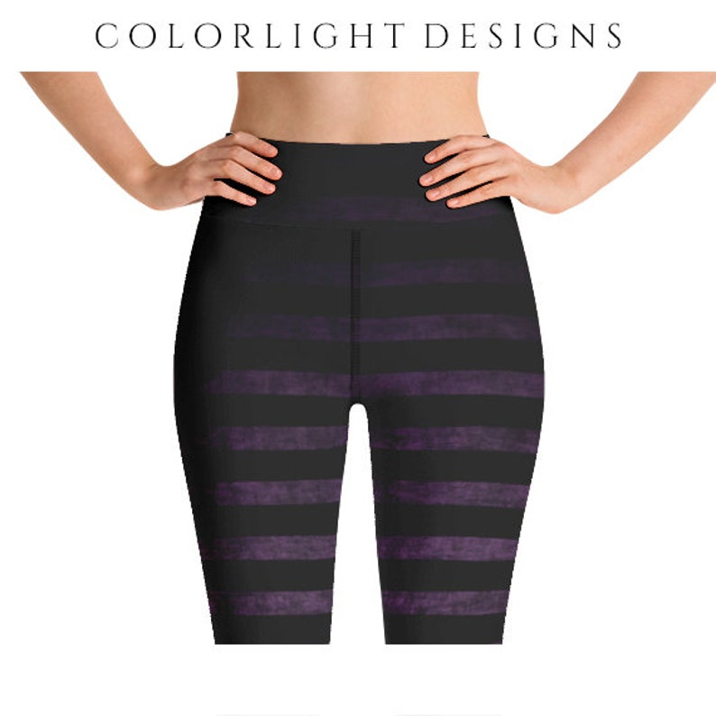 High Waist Witch Leggings Yoga Pants Striped Yoga Tights for image 0