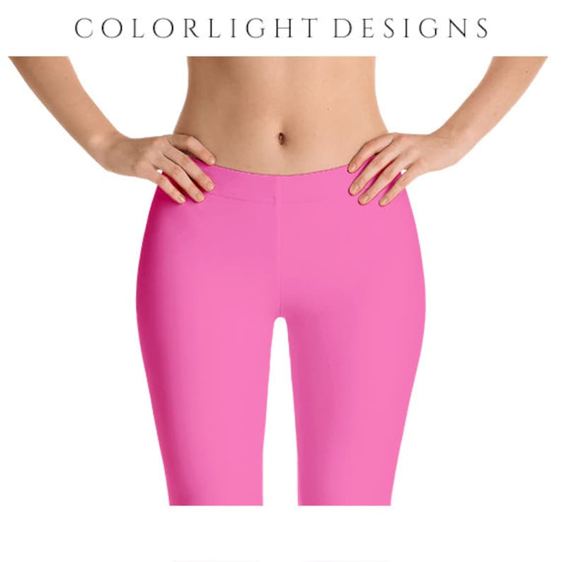 Hot Pink Leggings Yoga Pants Solid Color Yoga Tights for image 0