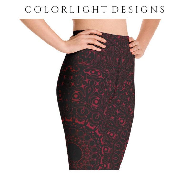 High Waist Burgundy Yoga Pants Black Leggings with Red image 0