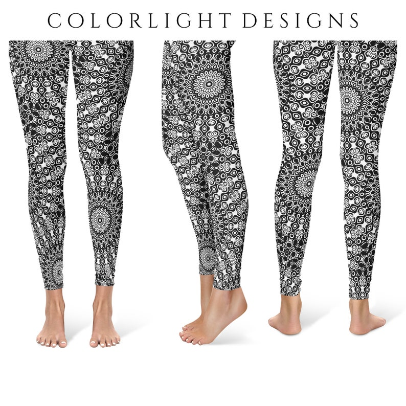 Funky Yoga Leggings for Women Black and White Mandala Design image 0