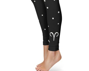 Gifts for Aries Leggings, Zodiac Birthday Leggings, Star Sign Yoga Pants