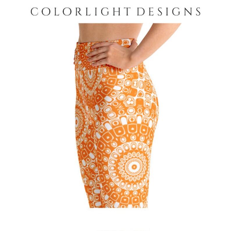 High Waist Orange Leggings Yoga Pants Printed Yoga Tights for image 0
