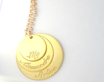 Engraved Family Names Coins Necklace, Custom Children Name Pendant, Minimal Necklace, Sterling Silver, Personalized Gift, Mother's Day Gift