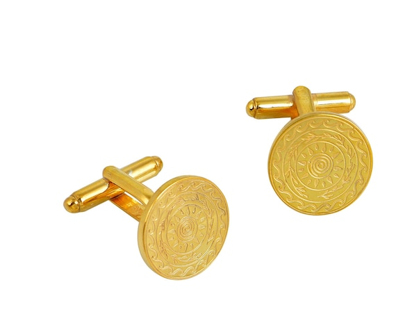 Gold Engraved Cuff Links