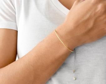 Thin Cuff Bracelet, Summer Dangle Bracelet in Sterling Silver, Minimal Chic Bracelet