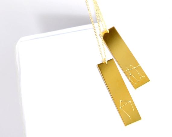 Engraved Zodiac Vertical Bar Necklace