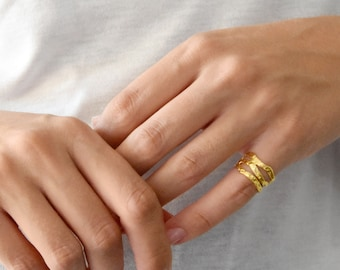 Gold Chevalier Ring, Lines Ring, Midi Ring, Gold Ring, Band Ring, Adjustable Ring, Summer Ring, Sterling Silver, Minimal Chic Jewelry