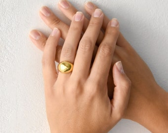 Wide Dome Ring, Statement Dome Ring, Gold Statement Ring, Unique Chunky Ring, Sterling Silver, Minimal Chic Ring, Gift for Her
