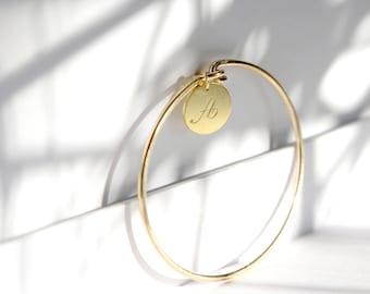 Initial Bangle Bracelet, Monogram Bracelet, Initial Disc Bracelet, Personalized Engraved Bracelet, Custom Bracelet, Minimal Chic Jewelry