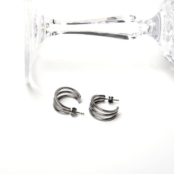 Black Triple Hoop Earrings