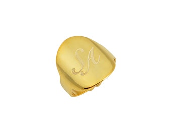 Gold Signet Ring, Personalized Signet Ring, Minimalist Ring, Dainty Ring, Stacking Ring, Minimal Ring, Minimalist Jewelry, Dainty Jewelry
