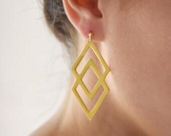 Double Rhombus Earrings, Rhombus Geometric Earrings, Sterling Silver, Statement Earrings, Minimal Chic Earrings, Valentine's Gift