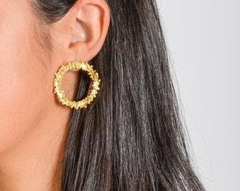 Fireworks Earrings, Circle Statement Hoop Earrings, Starburst Dangle Earrings, Sterling Silver, Minimal Chic Earrings, Gift for Her