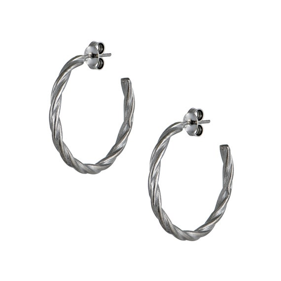 Black Twisted Hoop Earrings