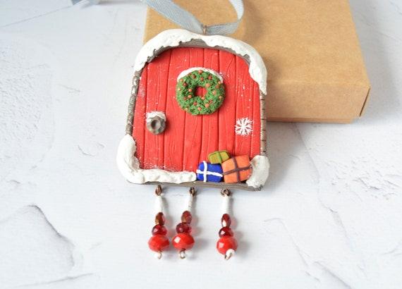 Polymer Clay Christmas Decorations.Christmas Fairy Door Fairy Ornament Polymer Clay Christmas Ornament Christmas Decorations Clay House With Crystals