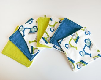 7 wipes eco-friendly organic Terry, blues and Greens