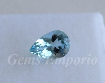 Aquamarine 9x6 MM Faceted Pear Engagement Ring Gemstone, Excellent Color and Quality, March Birthstone. Price per piece.