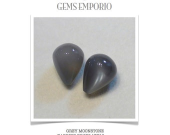 Grey Moonstone Tear Drops. Size 13x10 mm. For Moonstone Earrings and Pendant. Price per piece.