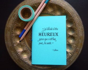 The optimist - notebook A6 (10 x 15 cm). Handmade Leather journal, notebook with green color, binding sewn Voltaire quote