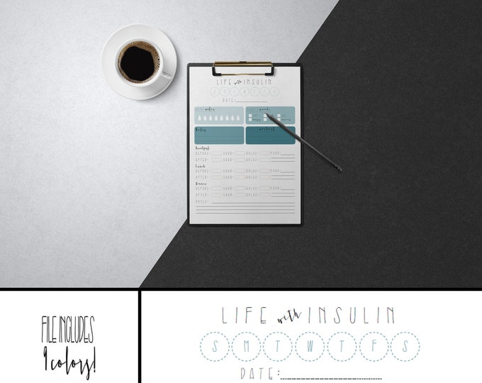 Life with Insulin - Printable Glucose Log (9 colors)