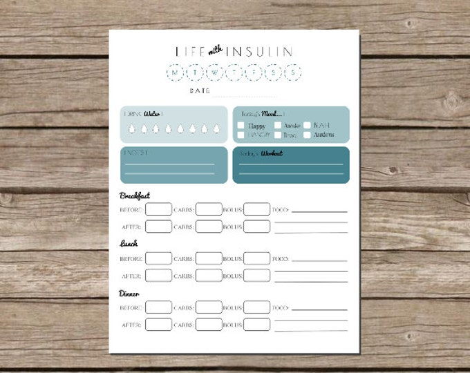 Featured listing image: Life with Insulin - Printable Glucose Log