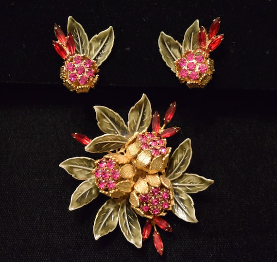 Vendome Chrysanthemum Flower Enamel Brooch & Earri