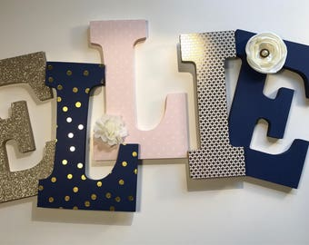 Navy Gold and Blush Pink Nursery Letters
