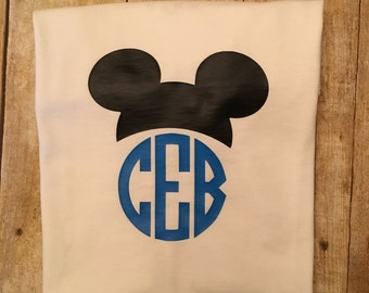 Mickey Monogram Shirt for Boys - Disney Inspired Mickey Ears with Monogram for Boys - Monogram Mickey Shirt - Mickey Ears Monogram -