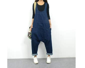 6d7146eca6a Womens Loose Fitting Summer Cotton Denim Wide Legs Jumpsuits Overalls With  Pockets