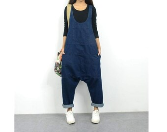11417971d130 Womens Loose Fitting Summer Cotton Denim Wide Legs Jumpsuits Overalls With  Pockets